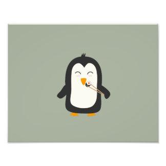 Penguin with sushi photo