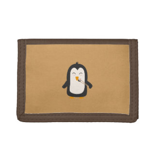 Penguin with sushi tri-fold wallet