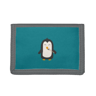Penguin with sushi tri-fold wallets