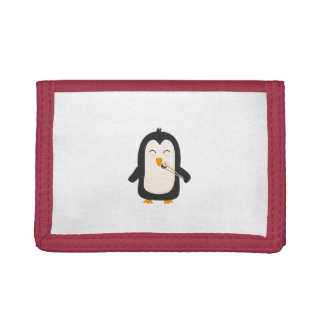 Penguin with sushi trifold wallets