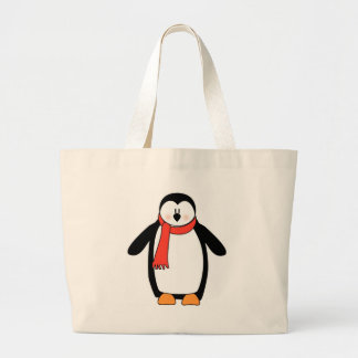 Penguin Wrapped in Red Scarf Jumbo Tote Bag