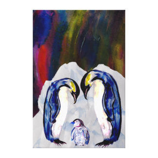 Penguins and baby watercolour mixed media gallery wrap canvas