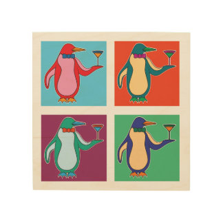 Penguins and Martinis - Wooden Wall Art Wood Print