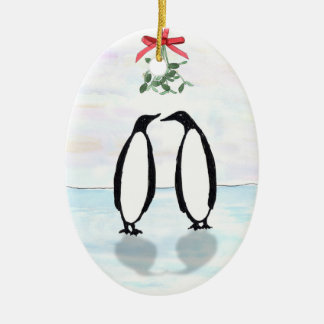 Penguins and Mistletoe Holiday Ornament