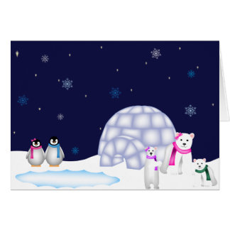 Penguins and Polar Bears Christmas Card