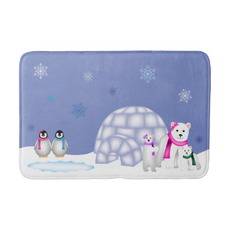Penguins and Polar Bears Day Time Bath Mat