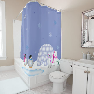 Penguins and Polar Bears Day time Curtain