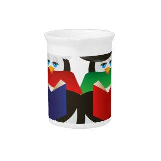 Penguins Christmas Carolers Illustration Beverage Pitcher