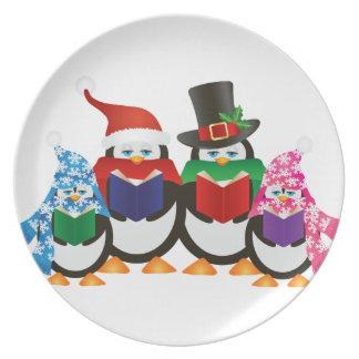 Penguins Christmas Carolers Illustration Dinner Plate