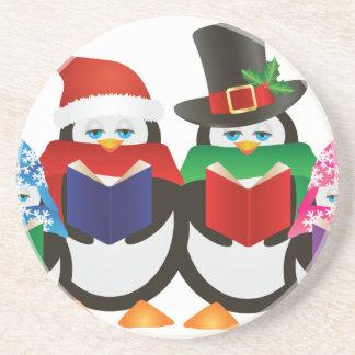 Penguins Christmas Carolers Illustration Drink Coaster