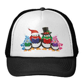 Penguins Christmas Carolers Illustration Trucker Hat
