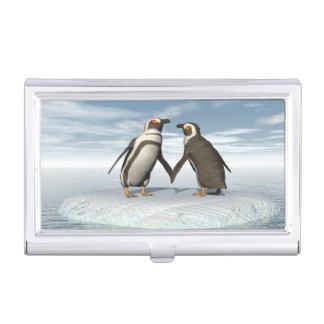 Penguins couple business card holder
