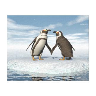 Penguins couple canvas print