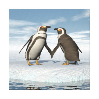 Penguins couple canvas print