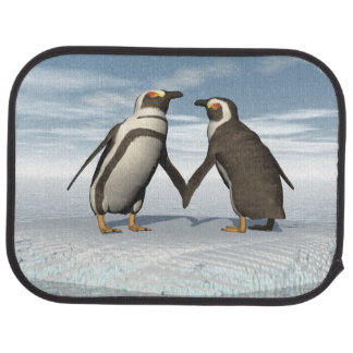 Penguins couple car mat