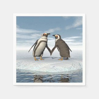 Penguins couple disposable napkins