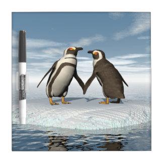 Penguins couple dry erase board
