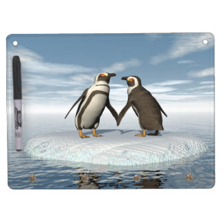 Penguins couple dry erase board with keychain holder