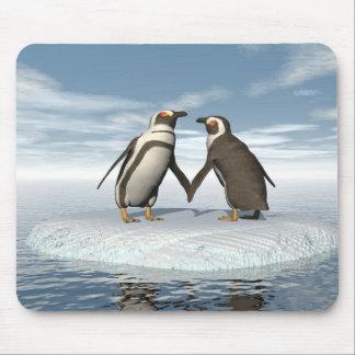 Penguins couple mouse pad