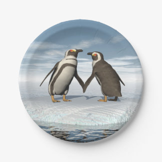 Penguins couple paper plate