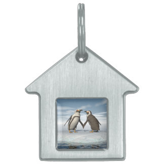 Penguins couple pet ID tag