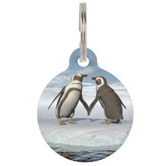 Penguins couple pet ID tag