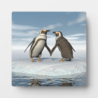 Penguins couple plaque