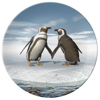 Penguins couple plate
