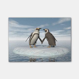 Penguins couple post-it® notes