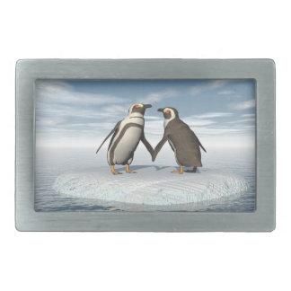 Penguins couple rectangular belt buckles