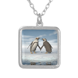 Penguins couple silver plated necklace