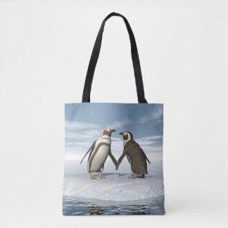 Penguins couple tote bag