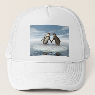 Penguins couple trucker hat
