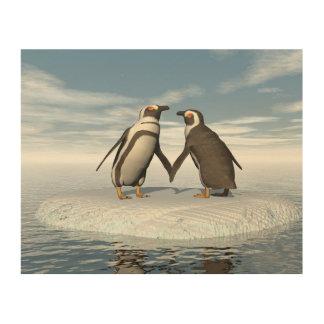Penguins couple wood print