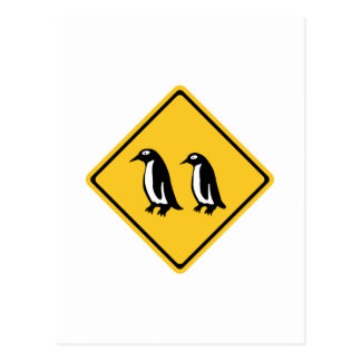 Penguins Crossing, Traffic Sign, New Zealand Postcard