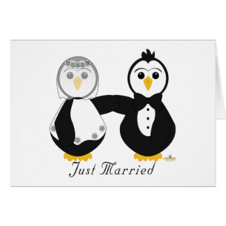 Penguins Getting Married Just Married Card