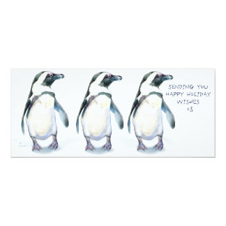 "Penguins Happy Holidays x3! 4"" X 9.25"" Invitation Card"