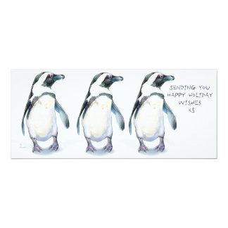 "Penguins Happy Holidays x3! 4"" X 9.25"" Invitation Card"