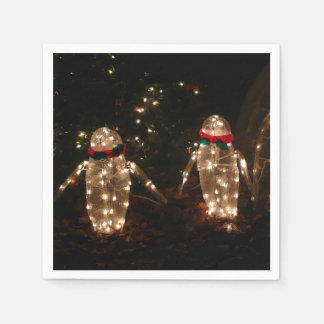 Penguins Holiday Light Display Disposable Napkins