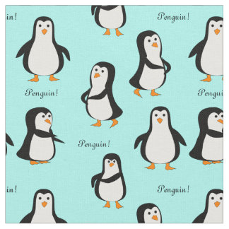 Penguins Ice Blue Fabric