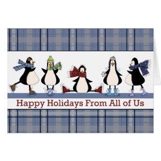 Penguins Ice Skating Group Holiday Christmas Card