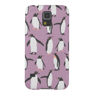 Penguins in the Snow on Purple Background Galaxy S5 Cases