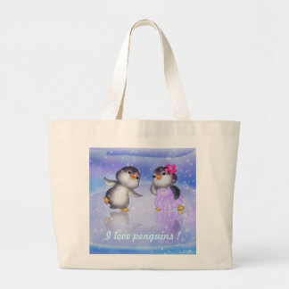 Penguins ! large tote bag
