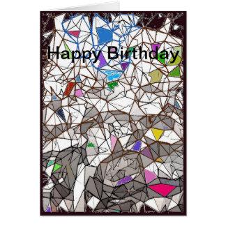 Penguins Mosaic Happy Birthday Card