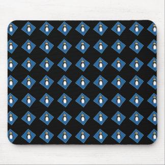 Penguins on Blue Diamonds Black Mousepad
