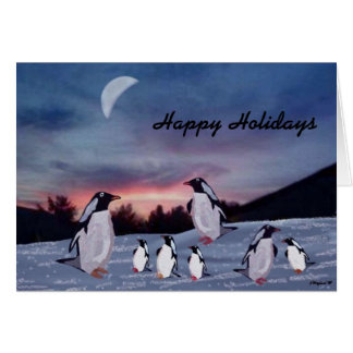 Penguins on Ice Holiday Cards