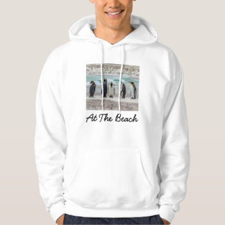 Penguins preening on beach hoodie