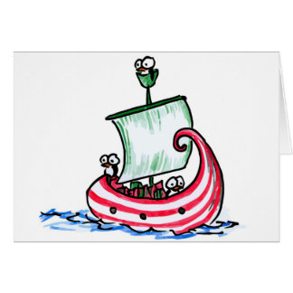 Penguins Sailing in a Christmas Boat Greeting Card