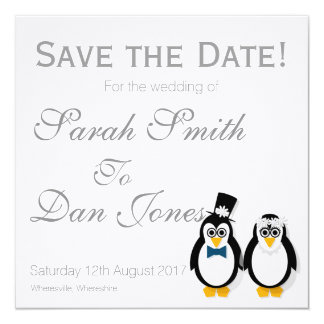 Penguins Save the Date Wedding (Customisable) Card