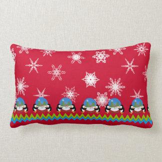 Penguins, Snowflakes and Snowglobes | Christmas Lumbar Pillow